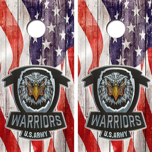 US Army Warriors Cornhole Wood Board Skin Wraps FREE LAMINATE