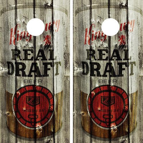 Kingsbury Real Draft Beer Vintage Can Cornhole Wrap FREE LAMINATE