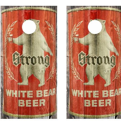 Vintage Strong White Bear Beer -  Beer Can Barnwood Cornhole Wood B