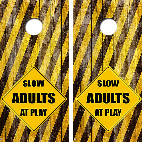 Adults Crossing Cornhole Board Skin Wraps FREE LAMINATE