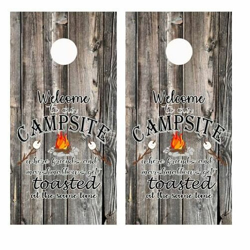 Welcome to Our Campsite Barnwood Cornhole Wood Board Skin Wraps