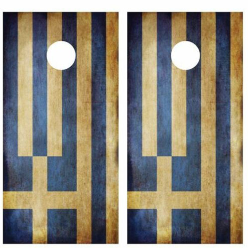 Grunge Greek Flag Cornhole Wood Board Skin Wrap