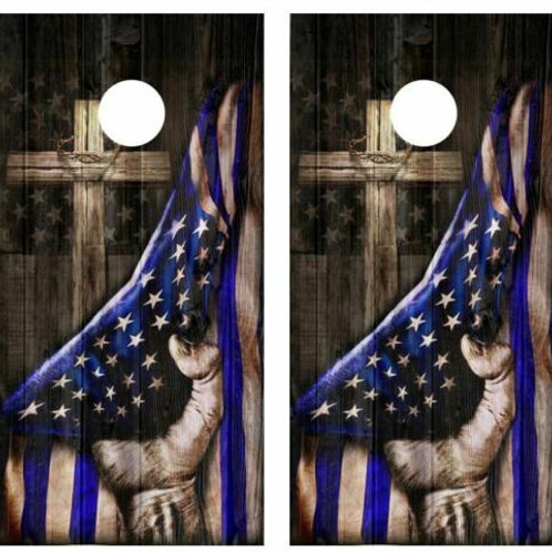 Blue Lives Cross Barnwood Cornhole Wood Board Skin Wraps FREE L