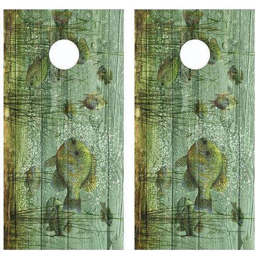Blue Gill Barnwood Cornhole Wood Board Skin Wrap