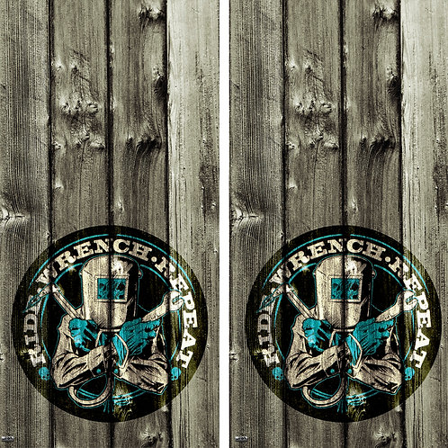 Ride Wrench Repeat Vintage Logo Cornhole Board Skin Wrap FREE LAMINATE