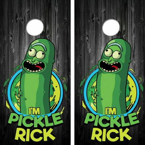Pickle Rick Barnwood Cornhole Wood Board Skin Wrap