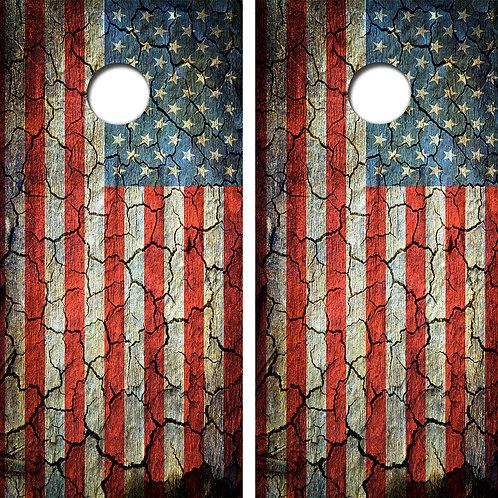 Cracked American Flag Cornhole Board Skin Wraps FREE LAMINATE