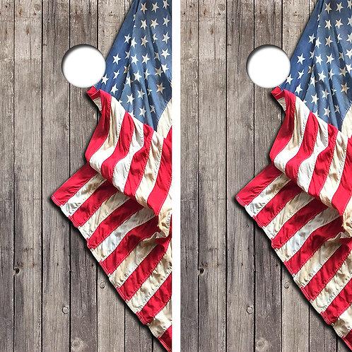 American Flag Cornhole Wood Board Skin Wraps FREE LAMINATE