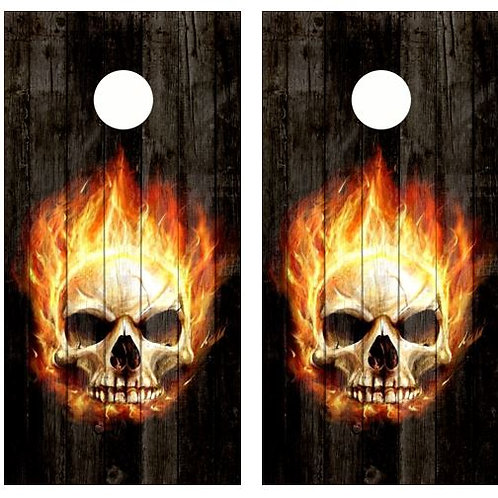 Angry Flaming Skull Barnwood Cornhole Wood Board Skin Wrap