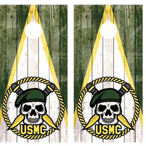 USMC Skull Logo Barnwood Cornhole Wood Board Skin Wrap