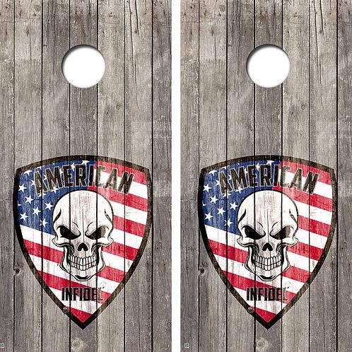 American Infidel Cornhole Board Skin Wraps FREE LAMINATE