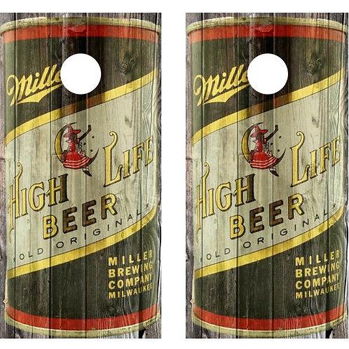 1953 Miller High Life Beer Can Barnwood Cornhole Wood Board Skin Wraps