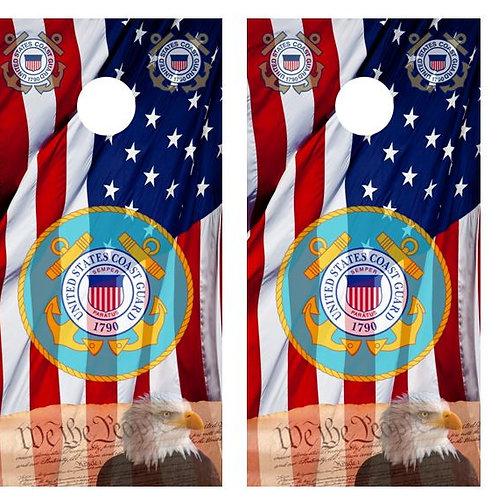 We The People/ Coast Guard American Flag Cornhole Board FREE LAMINATE