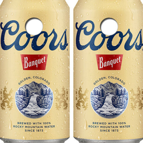 Coors Banquet Beer Can Cornhole Wood Board Skin Wraps