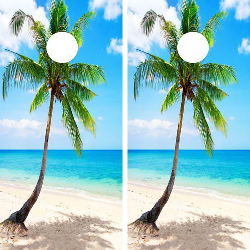 Tropical Beach Palm Tree Cornhole Wood Board Skin Wrap