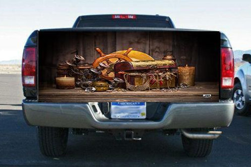 Wooden Treasure Chest Tailgate Wrap Vinyl Graphic Decal Sticker Wrap