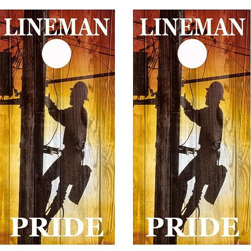 Lineman Pride Barnwood Cornhole Wood Board Skin Wrap
