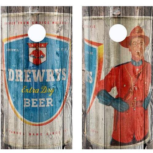 Vintage Drewrys Mountie Beer Can Barnwood Cornhole Wood Board Skin Wr