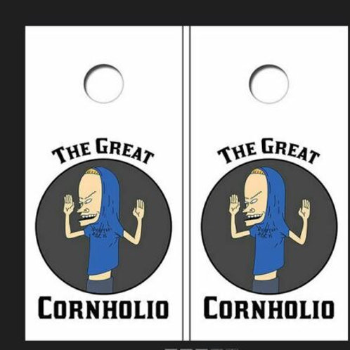 The Great Cornholio Cornhole Wood Board Skin Wrap