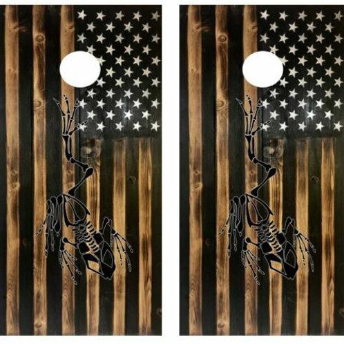 Rustic Flag Navy Seal Frogmen Cornhole Wood Board Skin Wrap