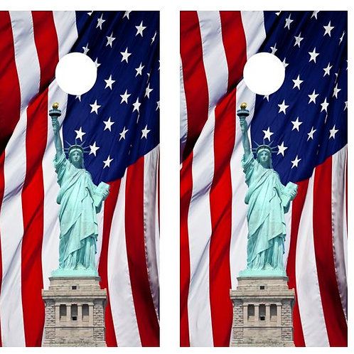 Statue of Liberty American Flag Cornhole Board Wraps FREE LAMINATE