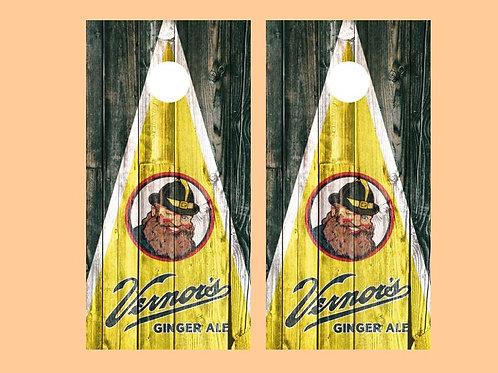 Vernor's Ginger Ale Barnwood Cornhole Wood Board Skin Wrap