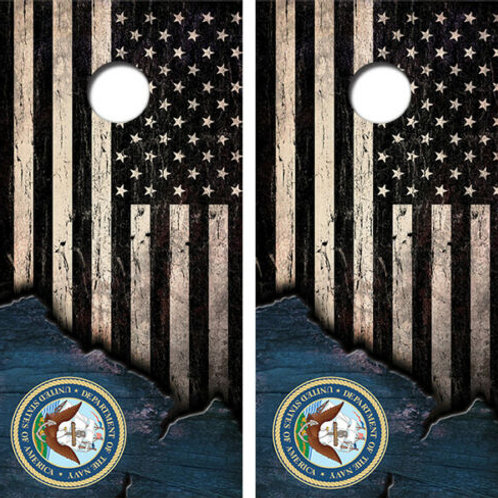 American Flag U.S. Navy Seal Cornhole Wood Board Skin Wrap