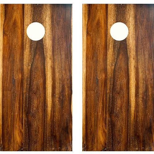 Dark Wood Grain Cornhole Wood Board Skin Wrap