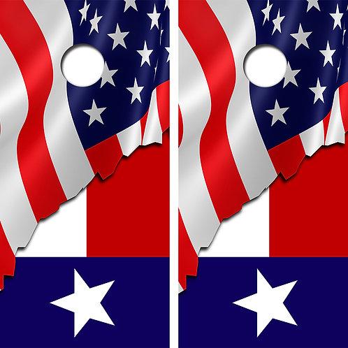 American Flag/Texas Flag Cornhole Wood Board Skin Wraps FREE LAMINATE