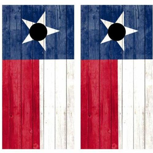 Texas State Flag Rustic Barnwood Cornhole Wood Board Skin Wraps FREE L