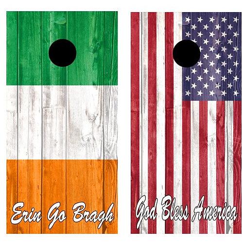 Irish American Flag Combo Barnwood Cornhole Wood Board Skin Wrap