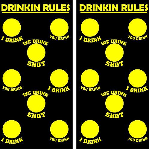 Drinkin Rules Cornhole Wood Board Skin Wraps FREE LAMINATE