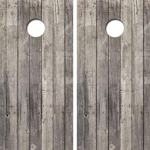 Grey Pine Wood Cornhole Wood Board Skin Wrap