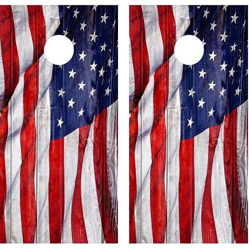 Waving American Flag Barnwood Cornhole Wood Board Skin Wrap