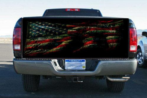 Grunge American Flag Rear Tailgate Wrap Vinyl Graphic Decal Sticker Wrap