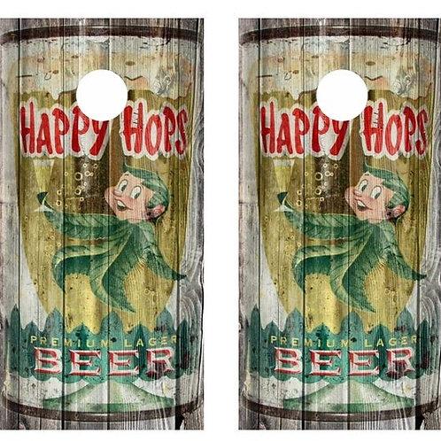 Vintage Happy Hops Beer -  Beer Can Barnwood Cornhole Wood B