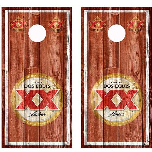 Dos Equis Amber Barnwood Cornhole Wood Board Skin Wrap