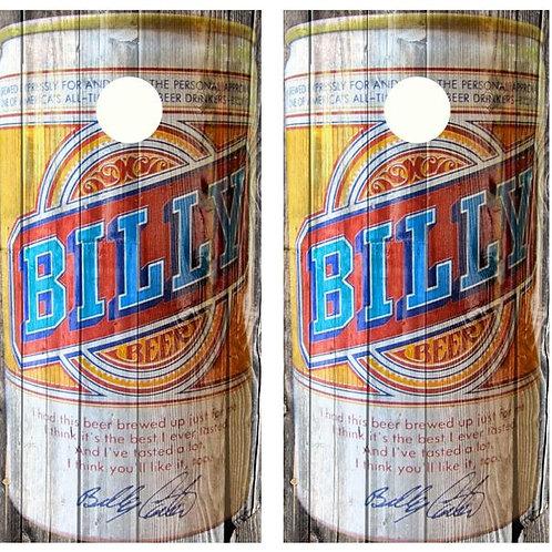 Vintage Billy Beer - Beer Can Barnwood Cornhole Woo