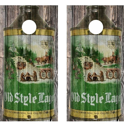 Vintage Old Style Beer - Cone Top Beer Can Barnwood Cornhole Wood Board Skin