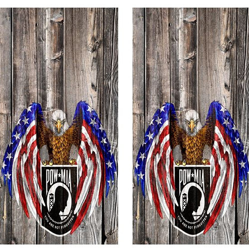 POW MIA American Eagle Wood Cornhole Board Wraps FREE LAMINATE