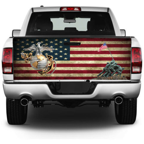 US Marine Corp American Flag Truck Tailgate Wrap Vinyl Graphic Decal Sticker Wr