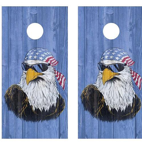 American Flag Bandana Eagle Barnwood Cornhole Wood Board Skin Wr