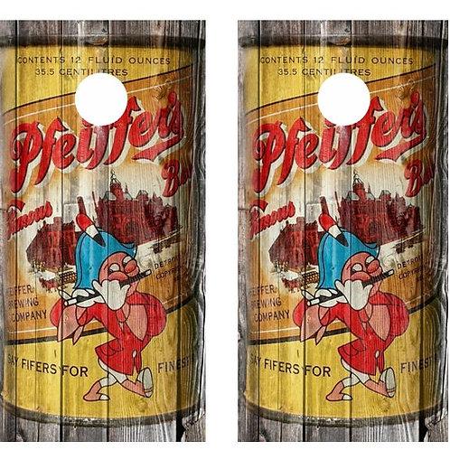 Vintage Pfeiffer's Beer - Beer Can Barnwood Cornhole Wood Board Skin Wr