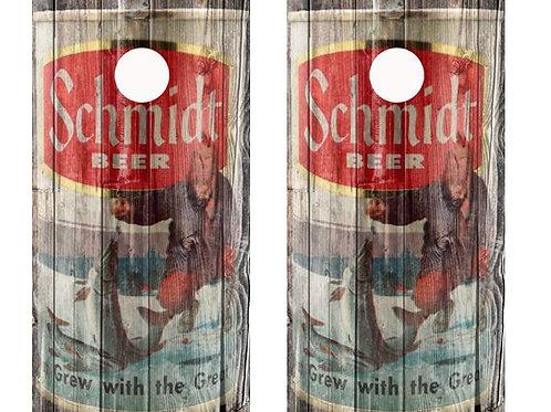 Vintage Schmidt Beer Ice Fishing -  Beer Can Barnwood Cornhole Wood B