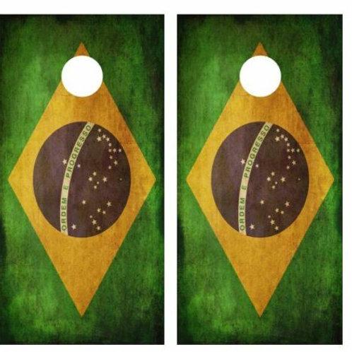 Grunge Brazilian Flag Cornhole Wood Board Skin Wrap