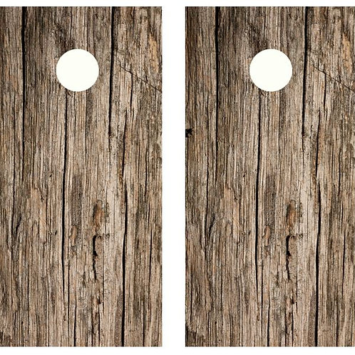 Weathered Wood Cornhole Wood Board Skin Wrap