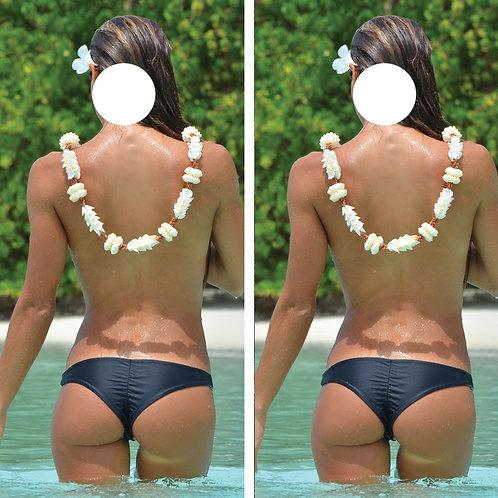 Beach Back Black Bikini Girl Cornhole Wrap FREE LAMINATE