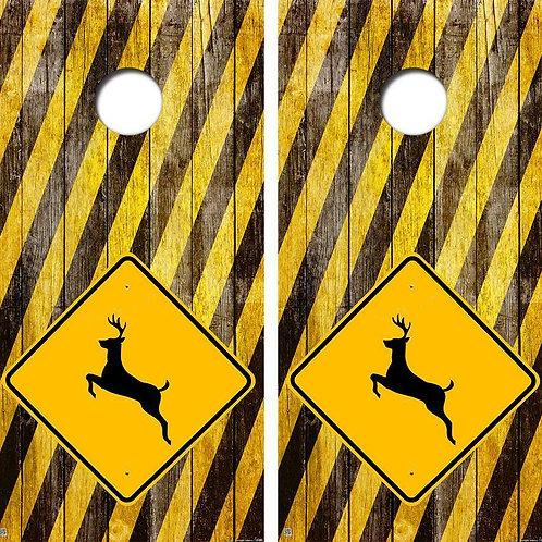 Deer Crossing Cornhole Wood Board Skin Wrap
