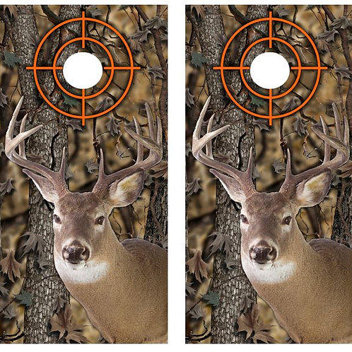 White Tail Buck Camo Cornhole Wood Board Skin Wrap