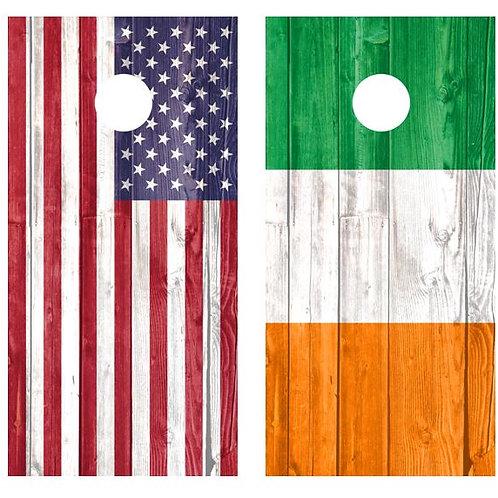 American & Irish Flags Barnwood Cornhole Wood Board Skin Wrap